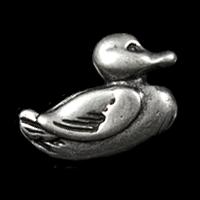 Altsilberfarbener Entenknopf aus Metall