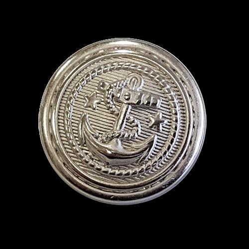 www.knopfparadies.de - 1694si - Maritime Metallknöpfe mit plastischem Motiv: Anker
