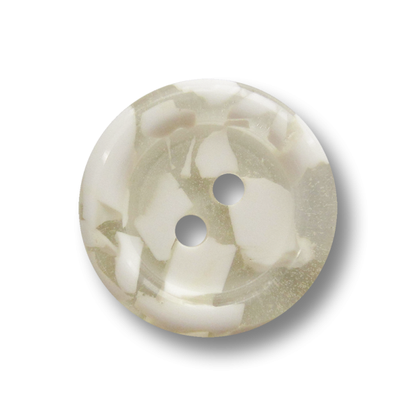 Zweiloch Knopf aus Kunststoff in Transparent mit weißem Mosaik