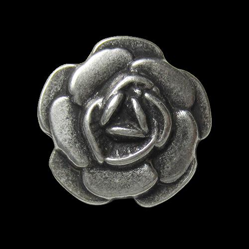 www.Knopfparadies.de - 5726as - Wunderschöne silberne Metallknöpfe mit Rosen Motiv