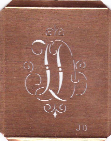 www.knopfparadies.de - JD-sch-555 - Verschnörkelte, alte Kupferschablobe zum Sticken von Monogrammen JD