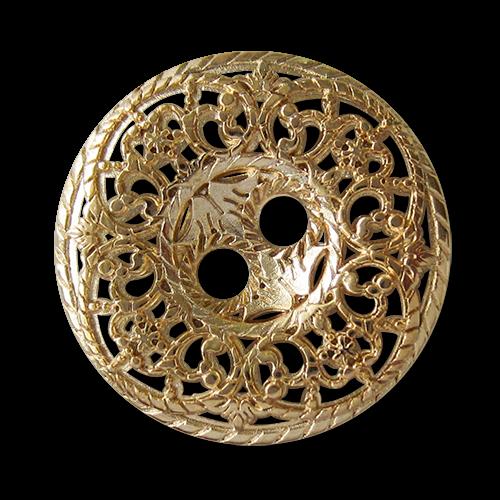 www.knopfparadies.de - 5746go - Goldfarbene Metallknöpfe mit majestätischem Durchbruchmuster