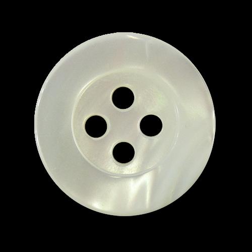 www.knopfparadies.de - pm998we - Hochwertige Perlmuttknöpfe in weiß schimmernd mit vier Löchern