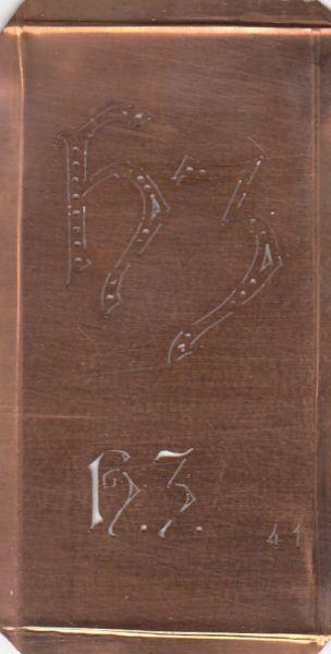www.knopfparadies.de - HZ-sch-041 - Aussteuer-Schablone, Wäsche-Schablone Sticken Kupfer HZ