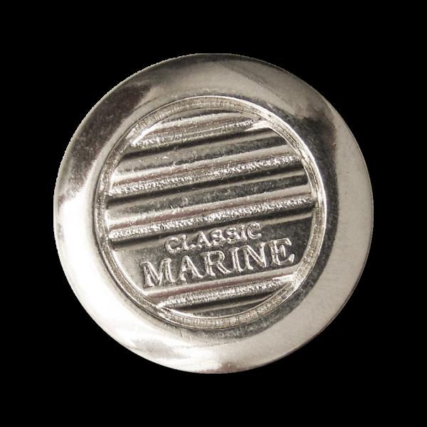 """Glänzend silberfarbene Metall Ösen Knöpfe """"CLASSIC MARINE"""""""