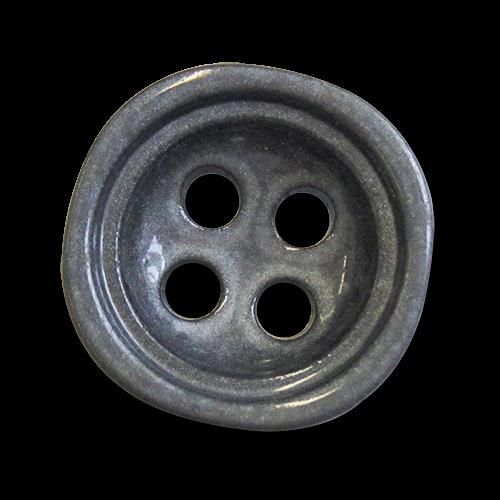 www.knopfparadies.de - 3918st - Grau Metallic schimmernde Kunststoffknöpfe, tief nach innen gewölbt
