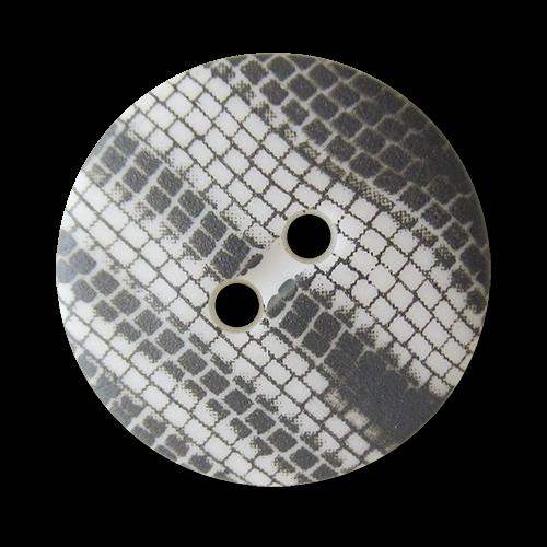 Günstige Kunststoffknöpfe in weiß grauer Schlangenoptik - kleinere optische Fehler = B-Ware