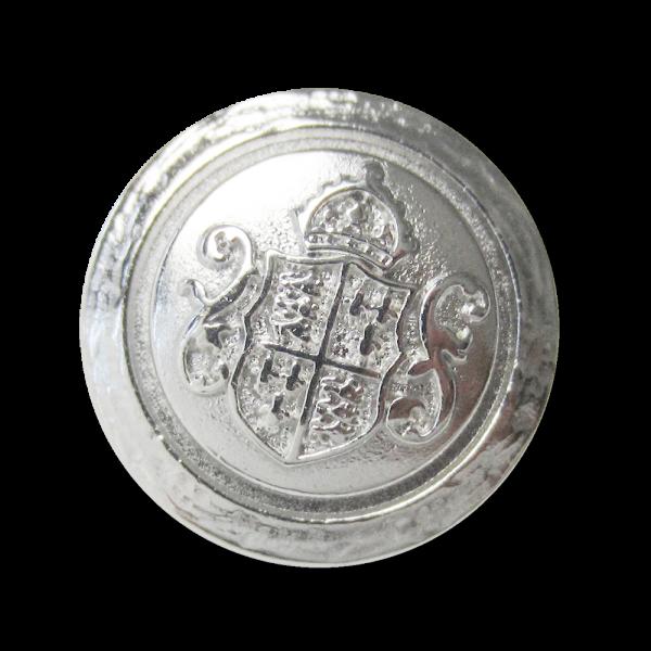Edler Metall Ösen Knopf mit Wappen, Krone und Zierbögen in Glänzend Silberfarben