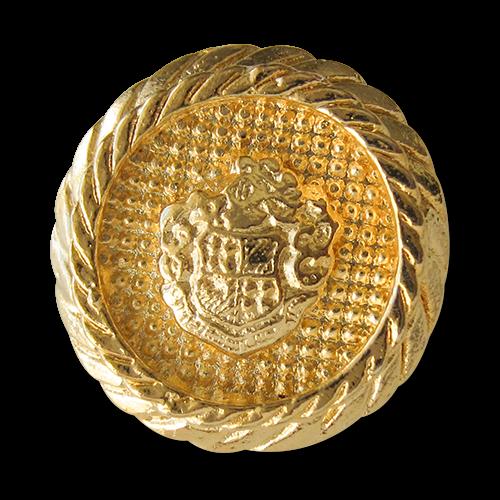 www.knopfparadies.de - 1541go - Extravagante goldene Wappenknöpfe aus Metall