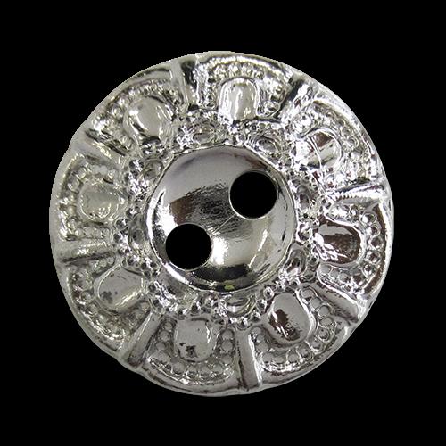 www.knopfparadies.de - 1566si - Silberne Kunststoffknöpfe mit barockem Blumen Muster