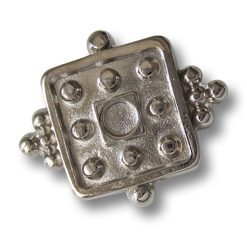 www.Knopfparadies.de - 0853si - Phantasievolle viereckige Metallknöpfe in Silber