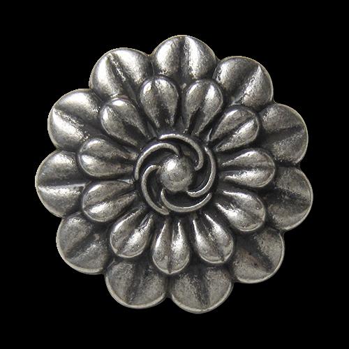 www.Knopfparadies.de - 5875as - Wunderschöne silberne Metallknöpfe mit Blumen Motiv