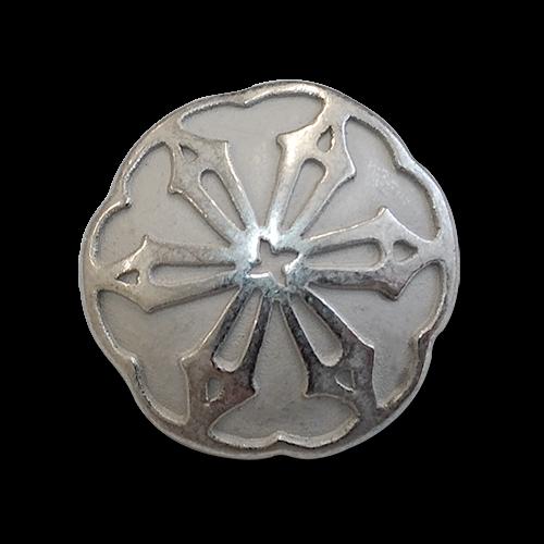 www.knopfparadies.de - 0353si - Silberfarbene Metallknöpfe mit Blütenmotiv