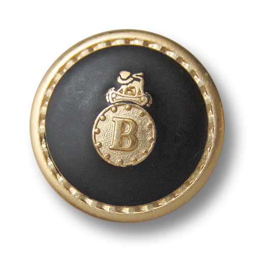 www.knopfparadies.de - 2664sg - Gold-schwarze Blazerknöpfe aus Metall