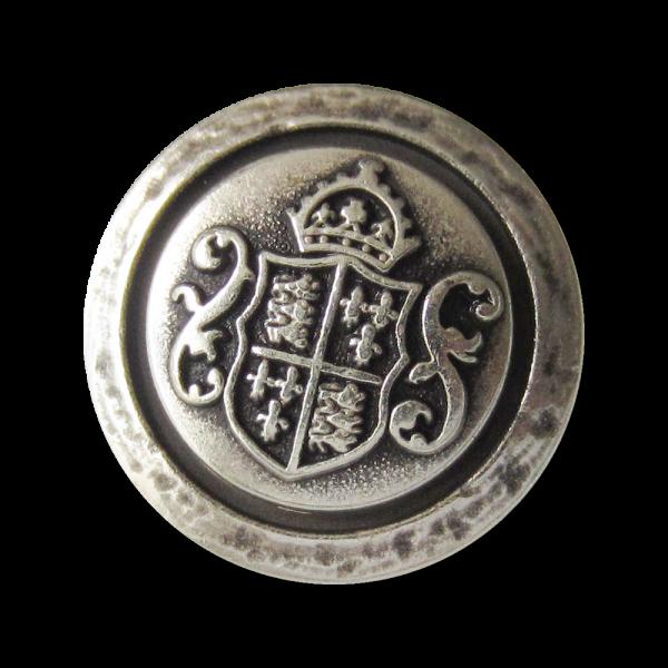 Edler Metall Ösen Knopf mit Wappen, Krone und Zierbögen in Matt Altsilberfarben