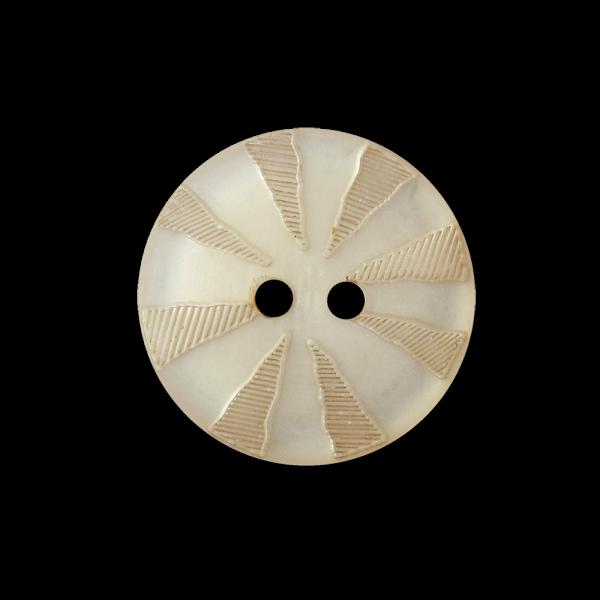 Hellbraun perlmuttartiger Knopf mit Strahlenkranz