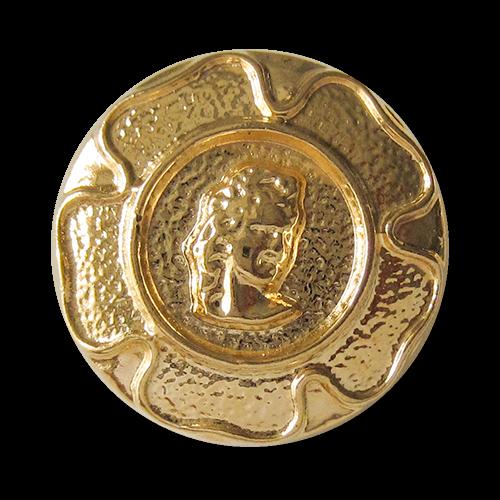 www.Knopfparadies.de - 4404go - Goldene Metallknöpfe mit historischem Motiv