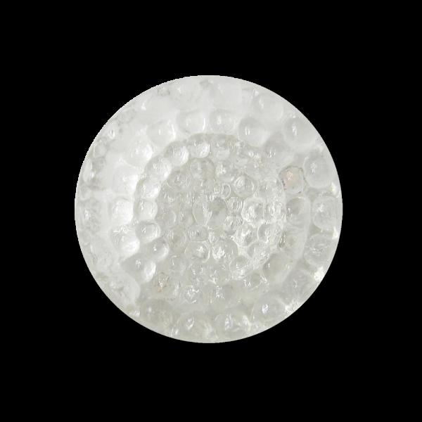Kleiner Glas Ösen Knopf mit Punkt Relief in matt transparent