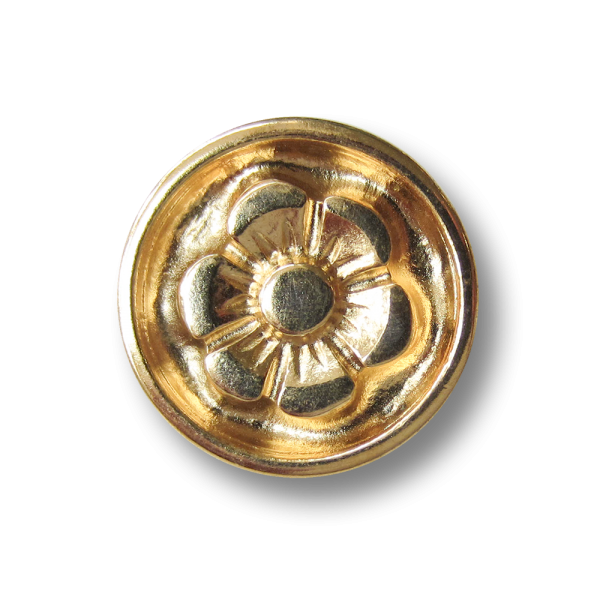 Goldfarbener Metallknopf mit Blüte