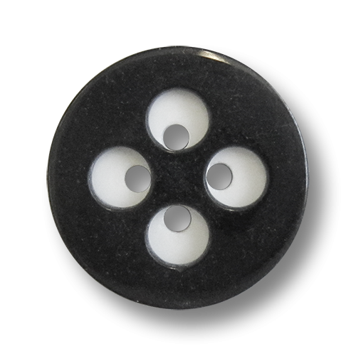 www.knopfparadies.de - 0662sw - Günstige Kunststoffknöpfe in schwarz-weiß