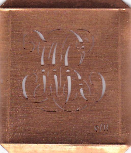 Wäsche-Schablone Sticken Monogramm Stickvorlage WR