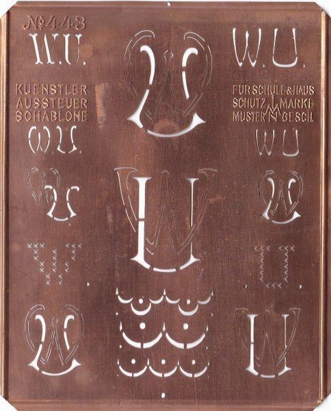knopfparadies.de - Stickschablone, Wäsche-Schablone Kupfer Monogramm WU