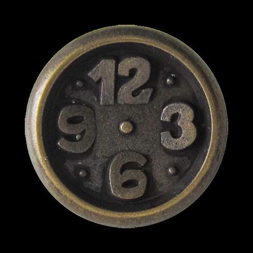 www.Knopfparadies.de - 0285am - Originelle Metallknöpfe in Altsilber mit Uhr Motiv