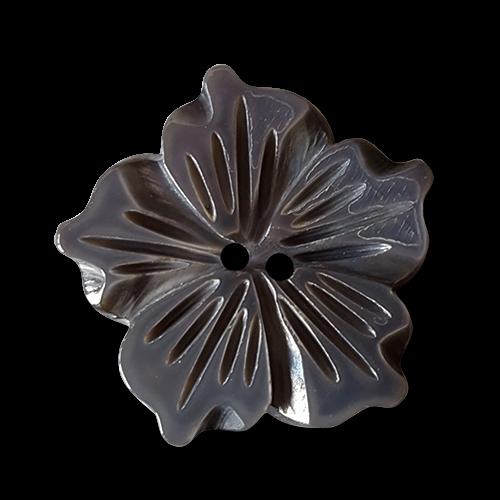 Großer, sehr ausgefallener, bildschöner grauer Perlmuttknopf