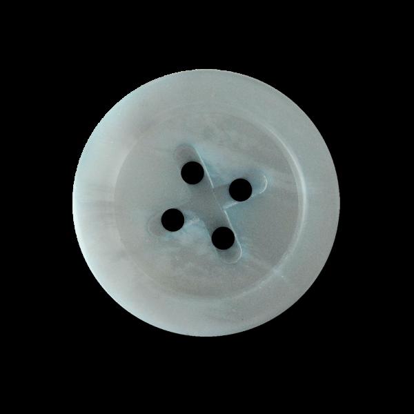 Hellblau melierter Vierloch Kunststoff Knopf mit Kreuz