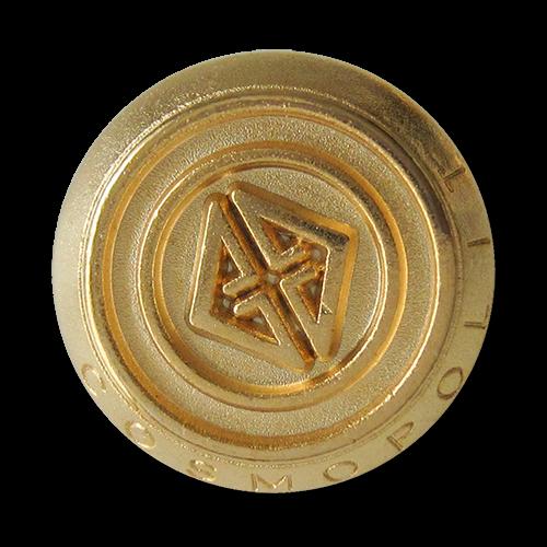 www.Knopfparadies.de - 3092go - Edle goldene Metallknöpfe mit Logo und Schriftzug Cosmopolit