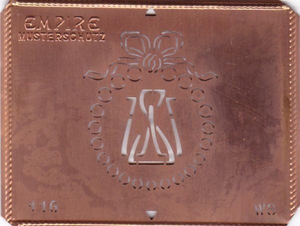 Stilvolle Jugendstil Kupfer Schablone mit Kranz und Schleife - Rarität - WS