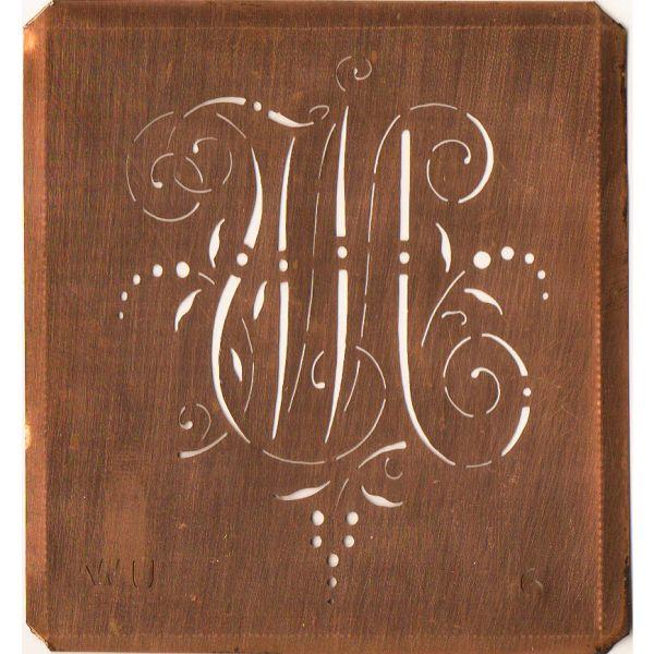 www.knopfparadies.de - WU-sch-006 - Initialen Schablone aus Kupferblech mit Monogramm WU