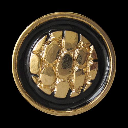www.Knopfparadies.de - 3129sg - Mondäne schwarz goldene Metallknöpfe mit Reptilien Muster mit kleinen Mängeln