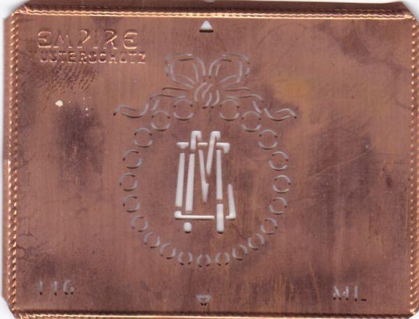 Stilvolle Jugendstil Kupfer Schablone mit Kranz und Schleife - Rarität - ML