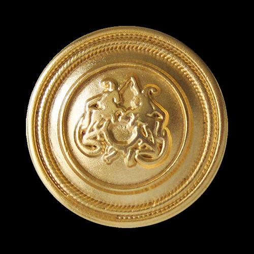 www.Knopfparadies.de - 2453mg - Goldene Ösen Metallknöpfe mit Pferde Motiv
