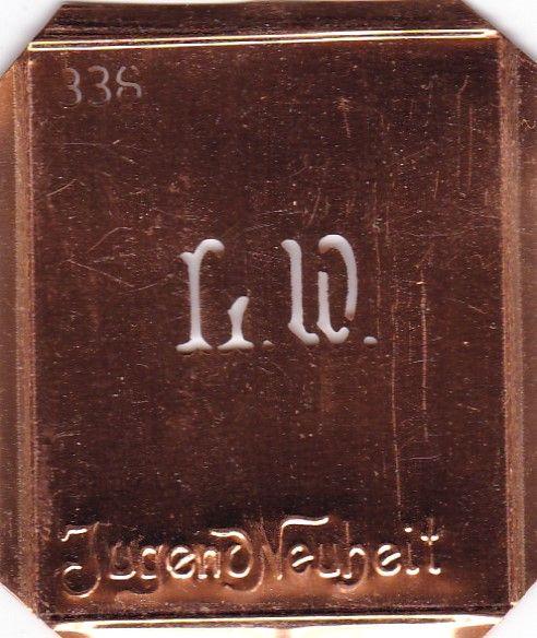www.knopfparadies.de - LW-sch-338 - Hübsche kleine Kupfer Schablone für Monogramme LW