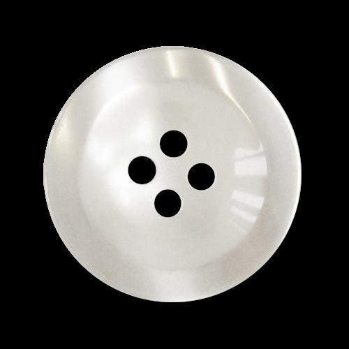 www.Knopfparadies.de - 3244kw - Klassische weiße Vierlochknöpfe aus Kunststoff mit Perlmuttschimmer