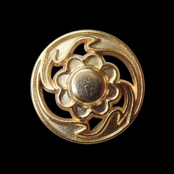 Nostalgischer Blumen Metall Knopf mit Durchbruch