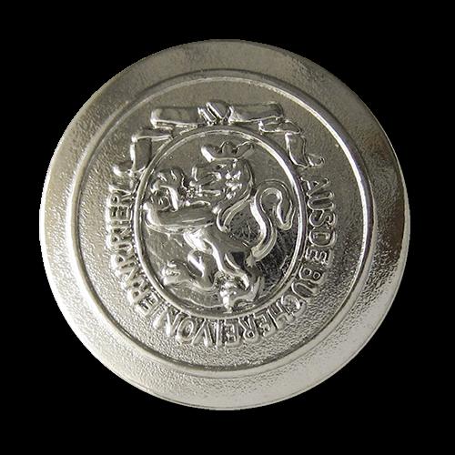 www.Knopfparadies.de - 0311sg - Edle Metallknöpfe in Silber mit Löwen Motiv