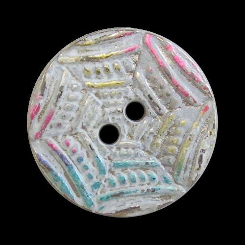 www.Knopfparadies.de - 3160bu - Tolle silberne Metallknöpfe mit weiß buntem Muster