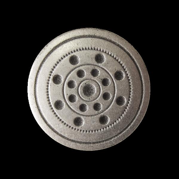 www.Knopfparadies.de - 0108as - Silberne Metallknöpfe mit Punkten und Kreisen