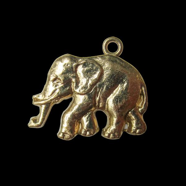 Sehr großer altgoldfarbener Metall Anhänger Elefant