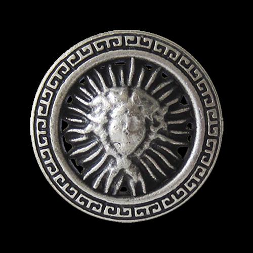www.Knopfparadies.de - 3159as - Silberne Ösenknöpfe aus Metall mit klassischem Designer Motiv