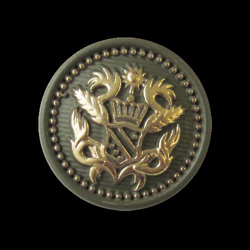 Grün goldfarbener Metall Ösen Knopf mit Wappen Motiv