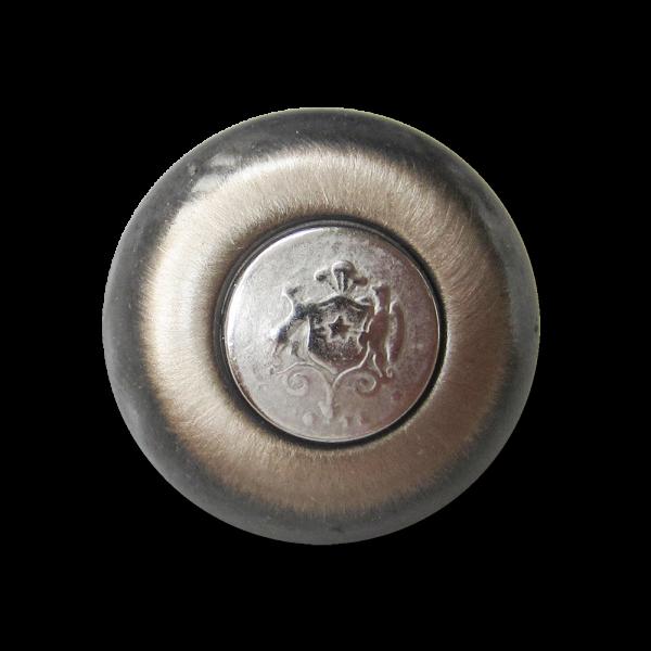 Eisenfb. Metall Ösen Knopf mit silberfb. Wappen Motiv