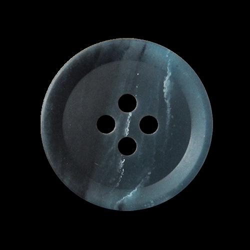 Blau dunkelblau weiß melierte Vierloch Kunststoffknöpfe