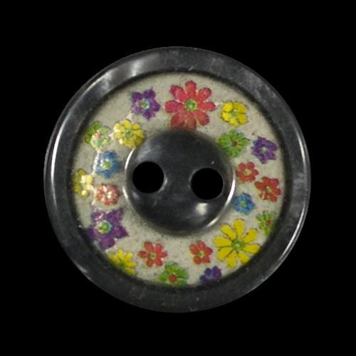 Süßer dunkelgrauer Knopf mit winzigen bunten Blüten