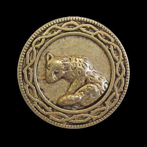 www.knopfparadies.de - 0564ag - Altgoldfarbene Metallknöpfe mit Raubkatze als Motiv