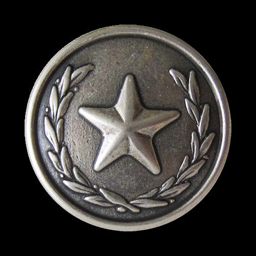 www.Knopfparadies.de - 1618as - Eindrucksvolle altsilberne Metallknöpfe mit Stern Motiv