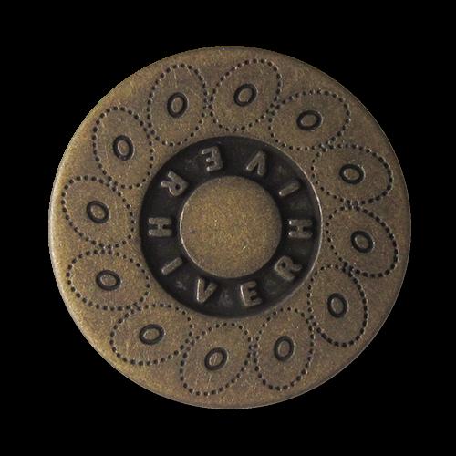 www.Knopfparadies.de - 0560am - Altmessingfarbene Metallknöpfe mit Kreismuster und Schriftzug